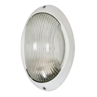 (1 Light) Large Oval Bulk Head - Semi Gloss White / Clear Diffuser - Nuvo Lighting 60-526
