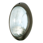 (1 Light) Large Oval Bulk Head - Architectural Bronze / Frosted Glass - Nuvo Lighting 60-527