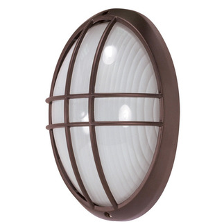 (1 Light) Large Oval Cage Bulk Head - Architectural Bronze / Frosted Glass - Nuvo Lighting 60-529