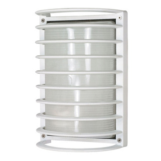 (1 Light) Rectangle Cage Bulk Head - Semi Gloss White / Frosted - Nuvo Lighting 60-532