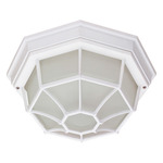 (1 Light) Ceiling Spider Cage Fixture - White / Frosted Glass - Nuvo Lighting 60-534