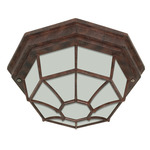 (1 Light) Ceiling Spider Cage Fixture - Old Bronze / Frosted Glass - Nuvo Lighting 60-535