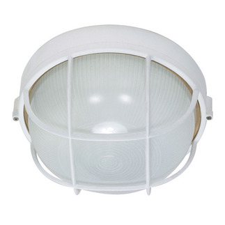 (1 CFL) Round Cage Bulk Head - Semi Gloss White / Frosted - Nuvo Lighting 60-562