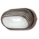 (1 CFL) Oval Hood Bulk Head - Architectural Bronze / Frosted Glass - Nuvo Lighting 60-567