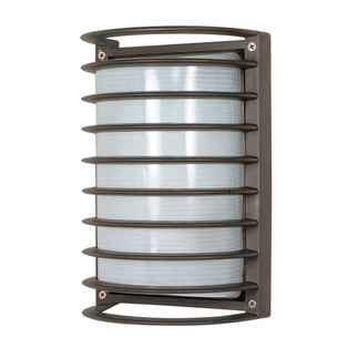 (1 CFL) Rectangle Cage Bulk Head - Architectural Bronze / Frosted Glass - Nuvo Lighting 60-577