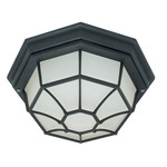 (1 CFL) Ceiling Spider Cage Fixture - Textured Black / Frosted - Nuvo Lighting 60-580