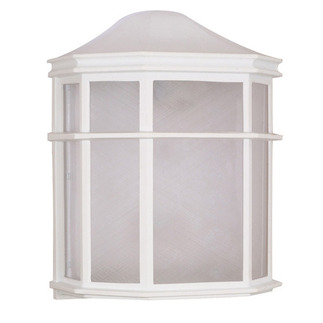 (1 CFL) Cage Lantern Wall Fixture - White / White Acrylic - Nuvo Lighting 60-581