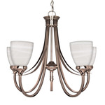 (5 Light) Chandelier - Brushed Nickel / Sculptured Glass Shades - Nuvo Lighting 60-585