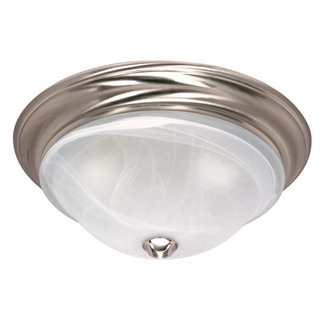 (1 Light) Flush Mount Ceiling Fixture - Brushed Nickel / Sculptured Glass - Nuvo Lighting 60-586