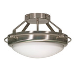 (2 Light) Semi-Flush Ceiling Fixture - Brushed Nickel / Satin Frosted Glass - Nuvo Lighting 60-609