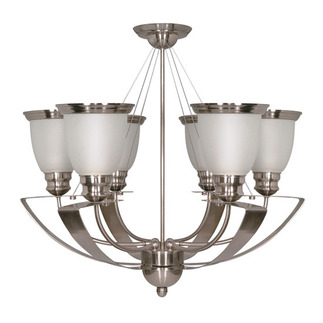 (6 Light) Chandelier - Brushed Nickel / Satin Frosted Glass Shades - Nuvo Lighting 60-616 - Residential Light Fixture
