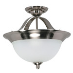 (3 Light) Semi-Flush Ceiling Fixture - Smoked Nickel / Satin Frosted Glass - Nuvo Lighting 60-620 - Residential Light Fixture