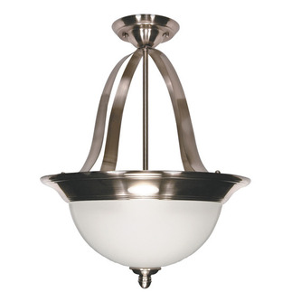 (3 Light) (Convertible) Pendant - Smoked Nickel / Satin Frosted Glass - Nuvo Lighting 60-621 - Residential Light Fixture