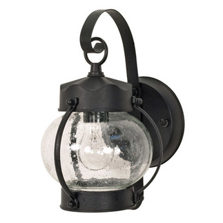 (1 Light) Wall Lantern - Onion Lantern - Textured Black / Clear Seed Glass - Nuvo Lighting 60-632