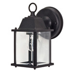 (1 Light) Wall Lantern - Cube Lantern - Textured Black / Clear Beveled Glass - Nuvo Lighting 60-638