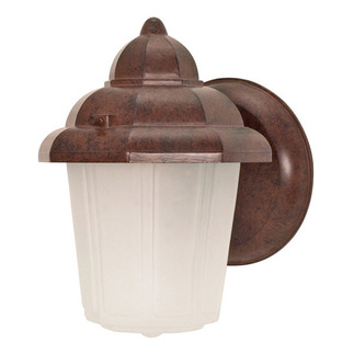 (1 Light) Wall Lantern - Hood Lantern - Old Bronze / Satin Frosted Glass - Nuvo Lighting 60-640 - Residential Light Fixture