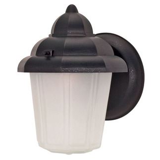 (1 Light) Wall Lantern - Hood Lantern - Textured Black / Satin Frosted Glass - Nuvo Lighting 60-641