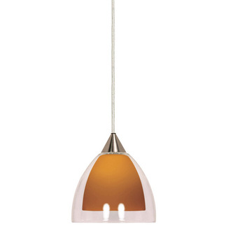 (1 Light) Halogen Pendant - Brushed Nickel / Butterscotch and Crystal Bullet - Nuvo Lighting 60-659