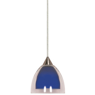 (1 Light) Halogen Pendant - Brushed Nickel / Cobalt and Crystal Bullet - Nuvo Lighting 60-660